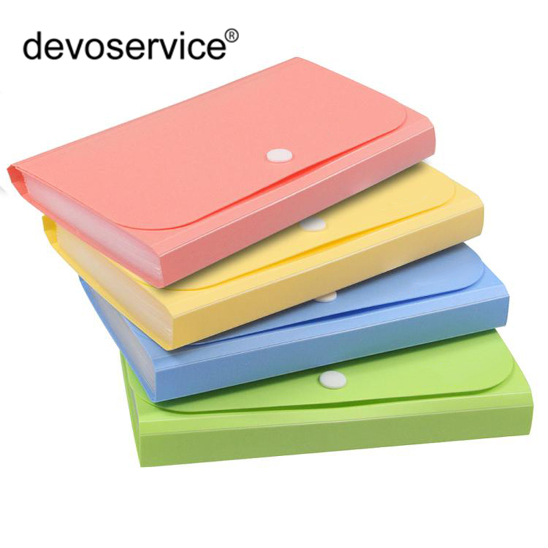 A6 Candy Colors Document Folders School Supplies Organizer Organ Bag Expanding File Folder For Documents School Office Binder