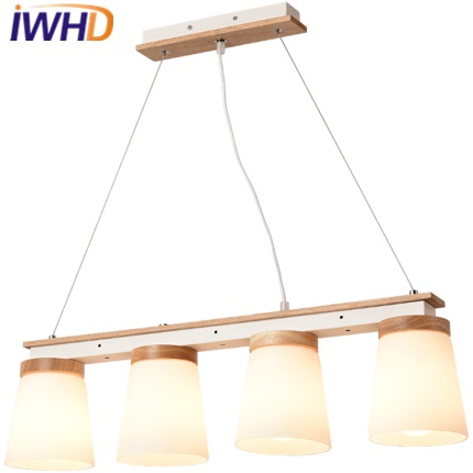 IWHD Nordic Style LED pendant Lights Modern 4 Heads Glass Hanging Lamp Bedroom Kitchen Light Fixtures Wood Lampara Home Lighting iwhd glass led pendant lights modern brief wood hanging lamp edison bulb light fixtures suspension luminaire home lighting