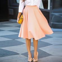 9afad03b4546 Summer Women Skirts Elegant Office Ladies Skirt Pleated Skater Vintage  Casual Knee Length high waist OL. 3 Colors Available