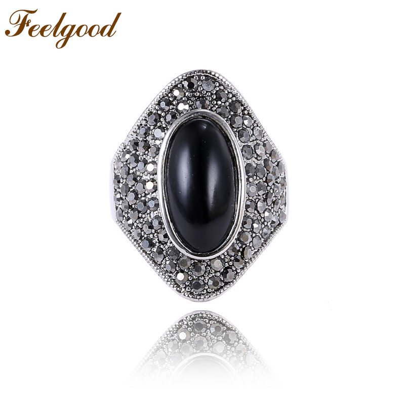 Feelgood Retro Jewelry Black Stone Ring Antique Silver Color Alloy Rhinestone Wedding Rings For Women Gift
