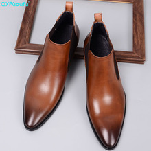 цены classic Chelsea Boots For Men Black brown pointed toe Genuine Cow Leather Ankle Boots Male Winter Casual Mans Footwear