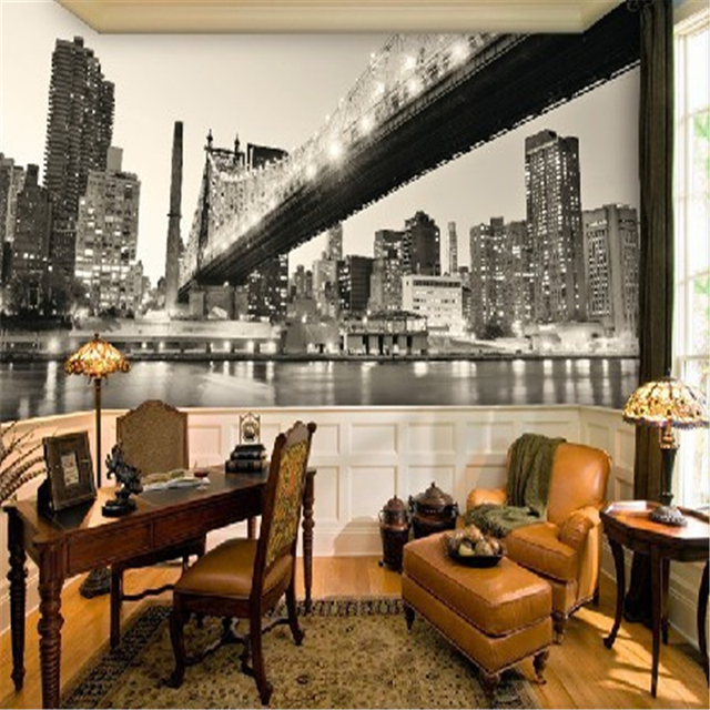 Buy beibehang black and white panorama of for Black and white new york mural wallpaper