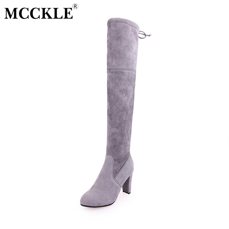 MCCKLE Winter Leather High Heels Over The Knee Shoes Woman