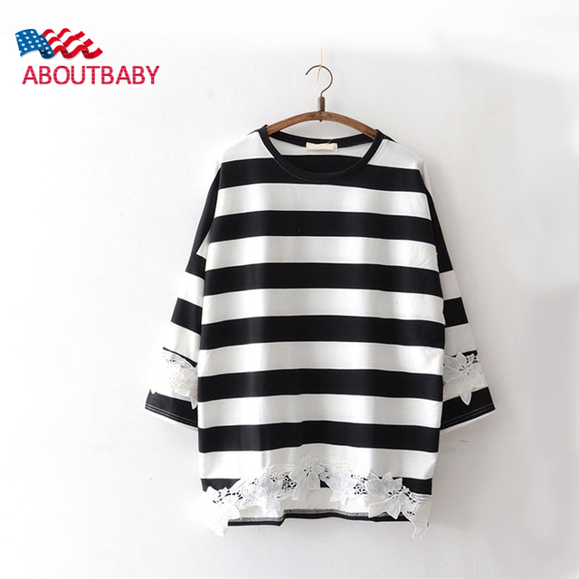 New Maternity Tops Tee Clothes Bat fashion Loose Plus size Lace Stripe O-neck Thicked Clothing For Pregnant Women T Shirt