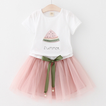 Girls 2019 Summer New Baby Girls Clothing Sets Fashion Style Cartoon Kitten Printed T-Shirts+Net Veil Dress 2Pcs Girls Clothes 4