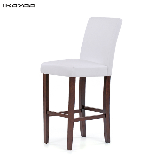IKayaa US Stock PU Leather Bar Pub Dining Chairs Wood Frame Padded Kitchen  Side Parson Chair