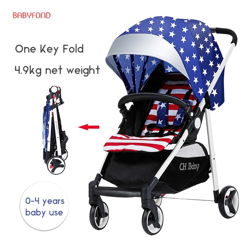4.9kg light foldable tBrand Baby Strollers Super Light Easy Fold Travel Baby Carriage Stroller