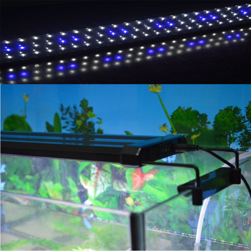 95~115cm Aquarium LED Lighting Fish Tank Light Lamp with Extendable Brackets 120 White and 24 Blue LED light for Aquarium