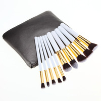 10Pcs Set Professional Brush High Quality Set Make Up Blush Brushes 1PC Make Up Bag Naked