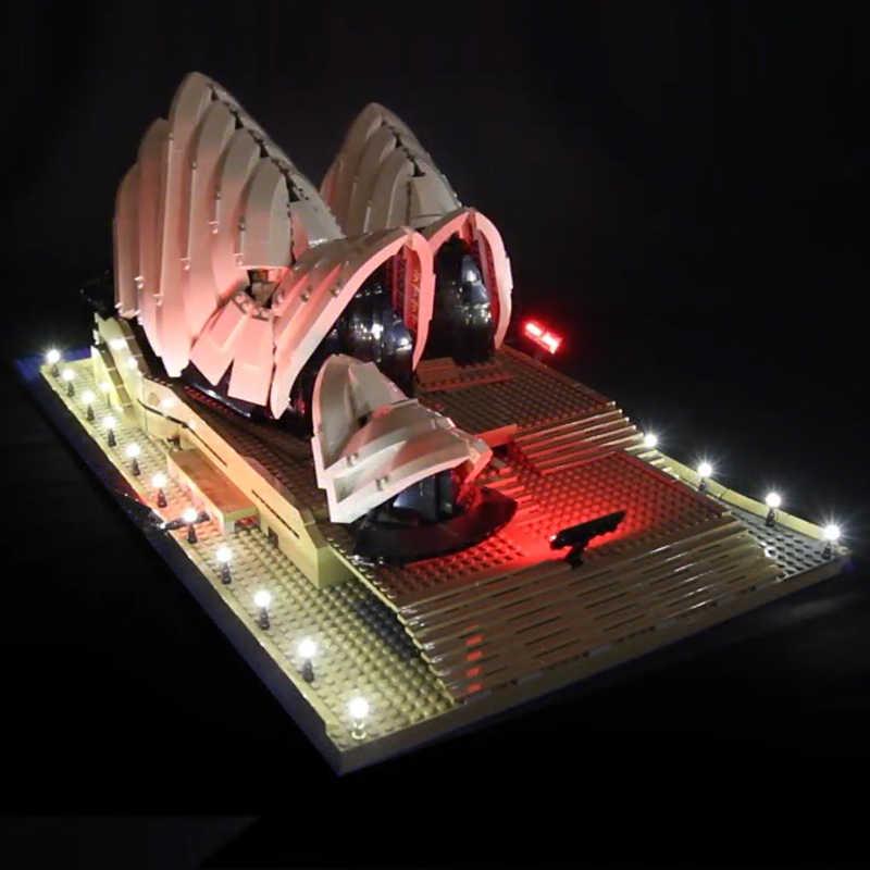 Zestaw oświetlenia LED do lego 10234 kompatybilny 17003 miasto serii Sydney Opera House cegły budowlane (tylko światło z opakowanie na baterie)