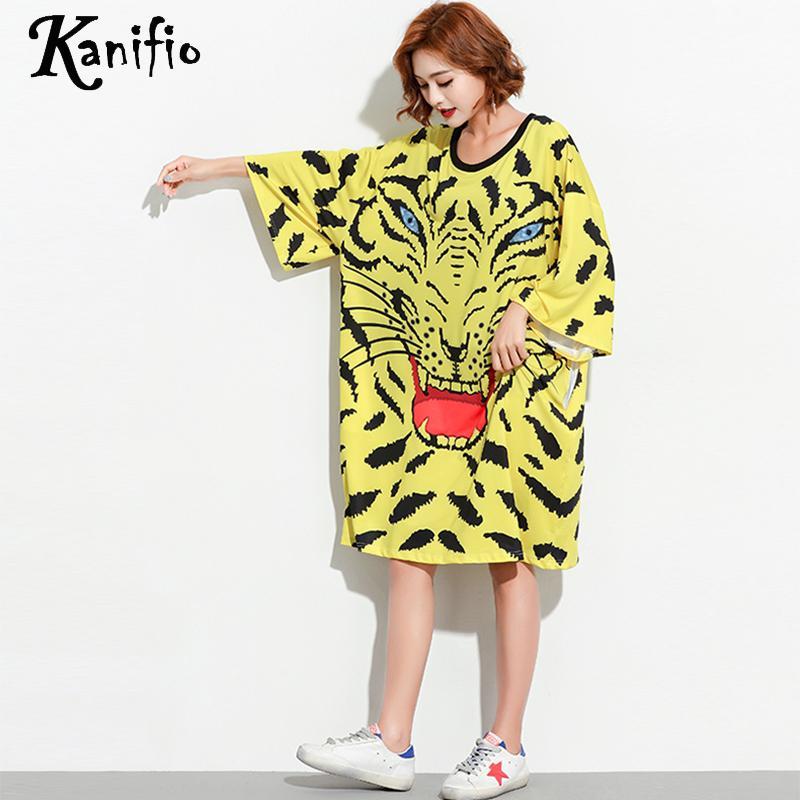8c3d6d083e2 Kanifio Brand Plus Size Women Casual Loose Free Dresses Fashion Print  Straight Summer Dress Long Top Shirts Tunic Vestidios 2018