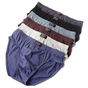 Image 1 - Men Briefs Solid Shorts Male Cotton Underwear Thin Loose Panty Plus Size Underpants Breathable Brief Short Homewear Sexy Panties