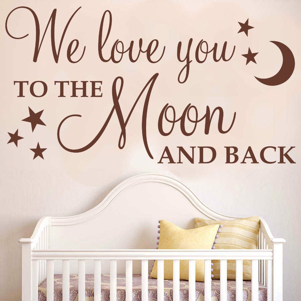 "Quote I Love You To The Moon And Back Diy Removable Wall Stickers ""we Love You To The Moon And Back"