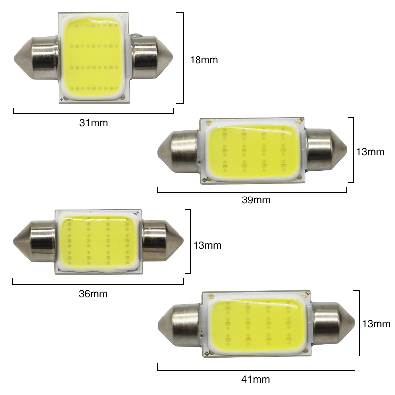 MODERN CAR 2pcs c5w Cob Led Festoon Light Bulb 31mm 36mm 39mm 41mm c3w c10w For Auto Reding Lights Interior Dome Light Lamp 12v (4)