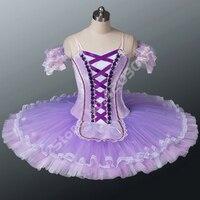 Взрослых фиолетовый Лебединое озеро профессиональная балетная пачка Для женщин Белое кружево вышивка Крестьянская балетные костюмы блин