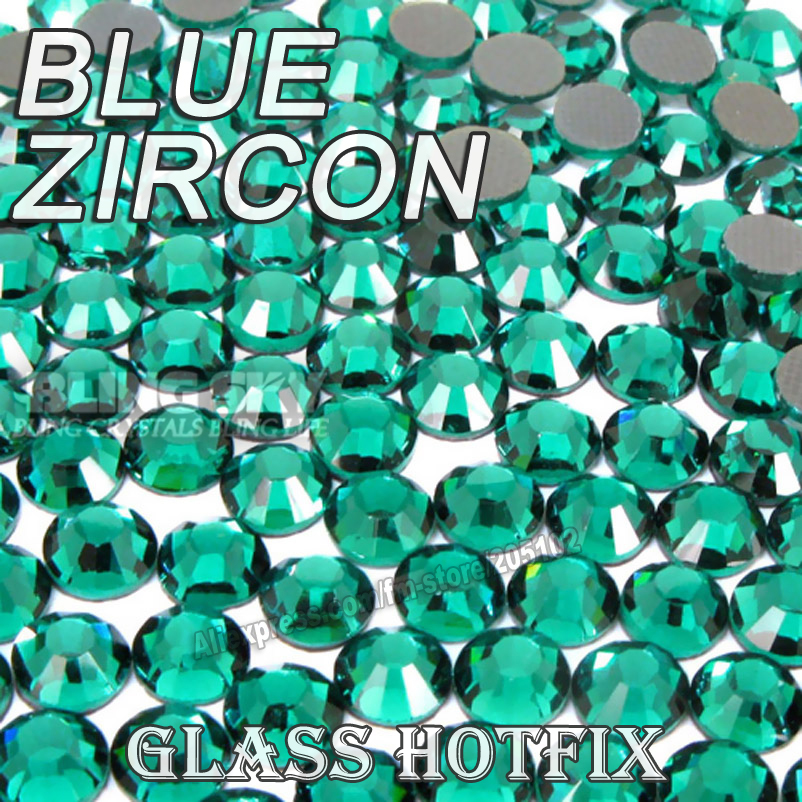 Blue Zircon BIG PACKAGE Hot Fix Rhinestones SS6 SS10 SS16 SS20 SS30 DMC Flat Back Crystals Glitters stone strass for DIY garment