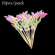 10pcs/lot TinkerBell cupcake topper fruit pick Bell theme party decorations TinkerBell cupcake toppers party supplies