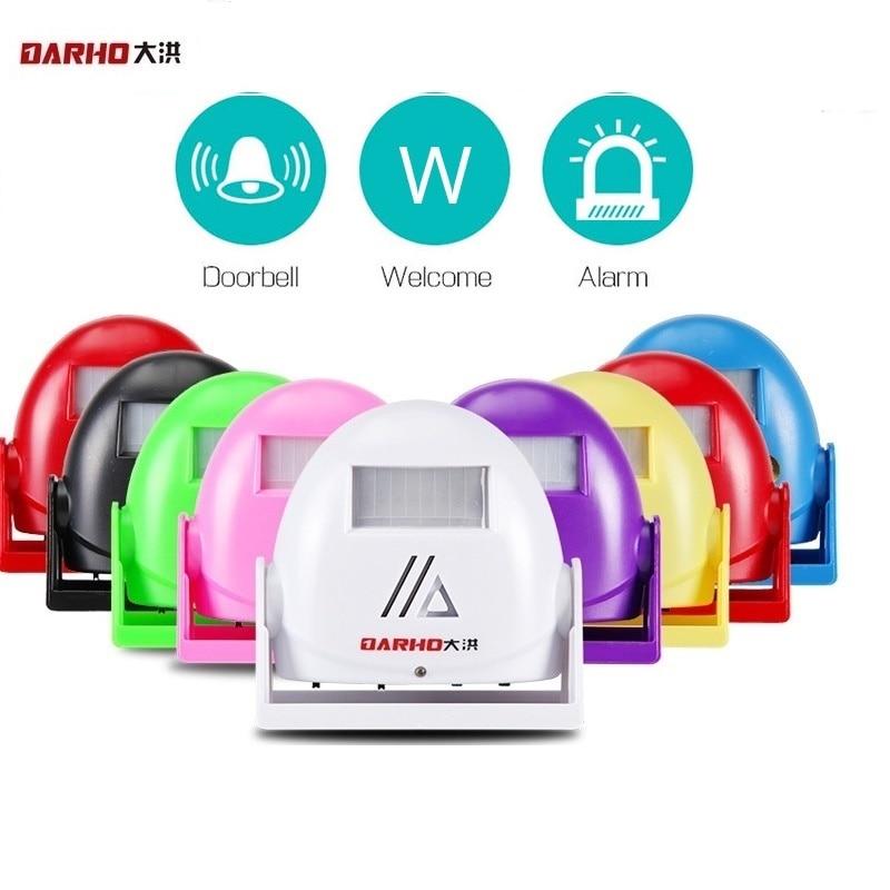 Darho Hello Bienvenido timbre de bienvenida inteligente inalámbrico Sensor de movimiento infrarrojo alarma de timbre de puerta de advertencia 8 colores