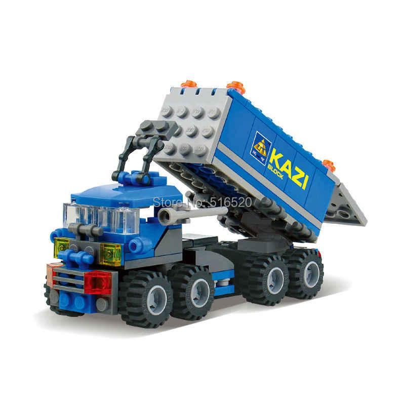Kazi Kota Mobil Truk Dumper Blok Bangunan 163 PC Batu Bata Pendidikan Konstruksi DIY Mainan Ulang Tahun untuk Anak-anak