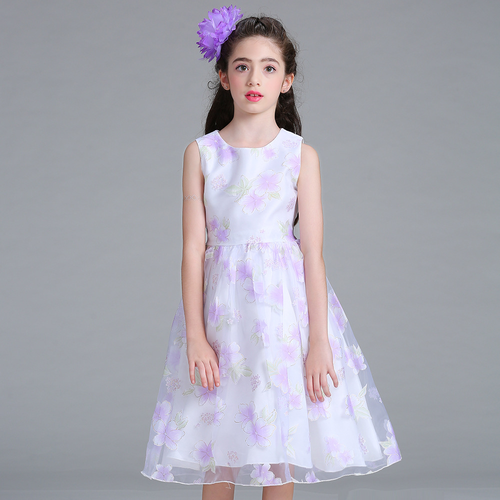 Children Knee Length Flower Girl Gowns White and Lavender Summer Floral Dress Princess Organza A Line Wedding Dresses with Sash new white ivory nice spaghetti straps sequined knee length a line flower girl dress beautiful square collar birthday party gowns
