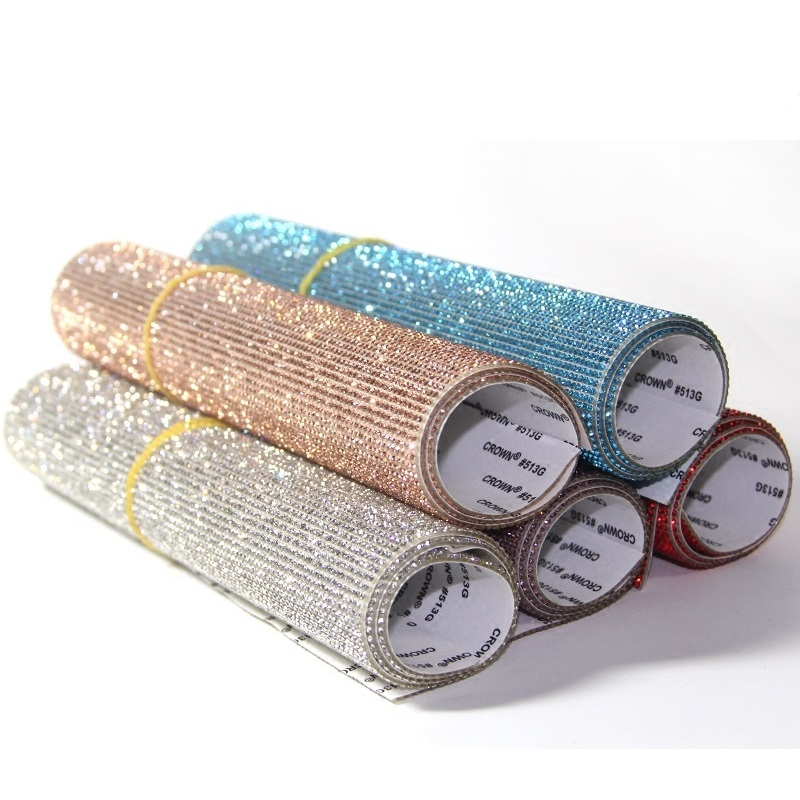 Bling Bling Automotive Interior Stickers Glass Crystals DIY Decoration Sticker for Car Mobile Phone Laptop Buttons
