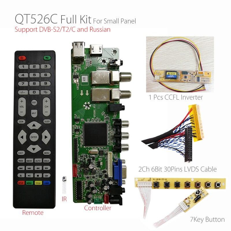 QT526C V1 1 Digital Signal DVB S2 T2 C ATV LCD Driver Board Dual USB Russian