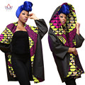 BRW Spring Winter Bazin Riche African Wax Cashmere Print Trench Coat for Women Dashiki Plus Size African Clothing Outwear WY1621
