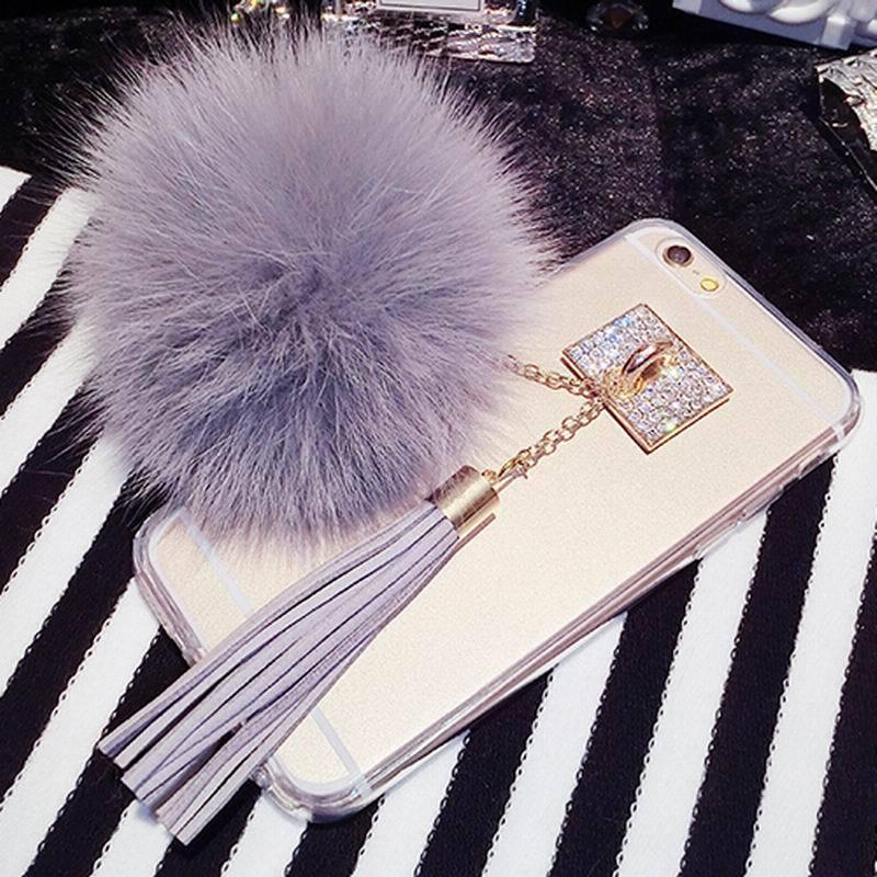 Роскошный лиса Мех животных мяч кулон кисточкой Мягкий гель ТПУ задняя крышка Телефонные Чехлы для iPhone 7 6 6 S плюс 5 5S SE случае В виде ракушки К…