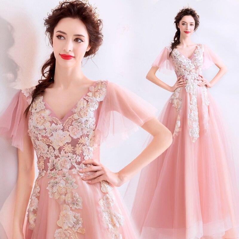 Elegant V-neck Pink Fairy Appliques   Prom     Dresses   New Arrival Short Sleeves Long Formal Party   Dresses   Vestido Longo Festa Gala