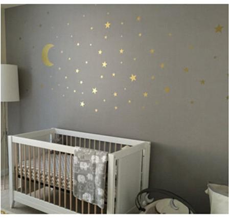 Gold Moon And Little Stars Wall Decal Sticker Wall Decals Wallmur