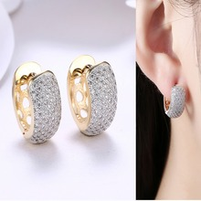 Round Crystal Earrings for Women Gold-color Hoop Earrings CZ Stone Cubic Zirconia Earring Vintage Jewelry misananryne design siliver gold color aaa cz wedding hoop earrings for women women s trendy pink blue cubic zirconia earring