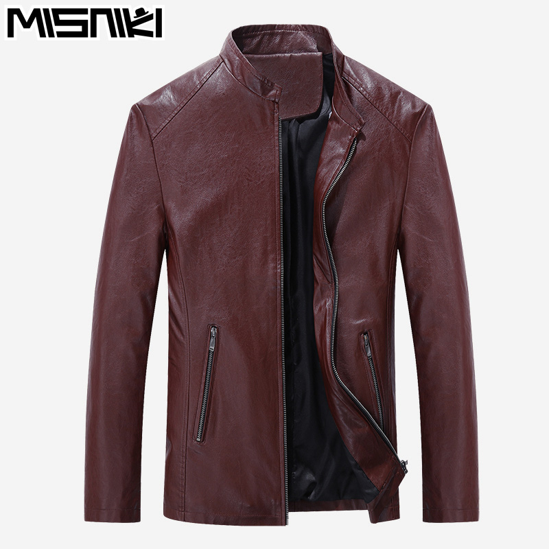 MISNIKI 2017 Best Selling Fashion PU Leather Jacket Men Good Quality Casual Slim Mens Jacket Coat