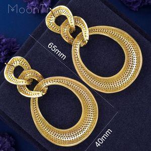 Image 5 - MoonTree Three Round Shape Dangle Full Micro Cubic 3Tone Color Copper Women Wedding Engagement Dress Big Earrings Bijoux