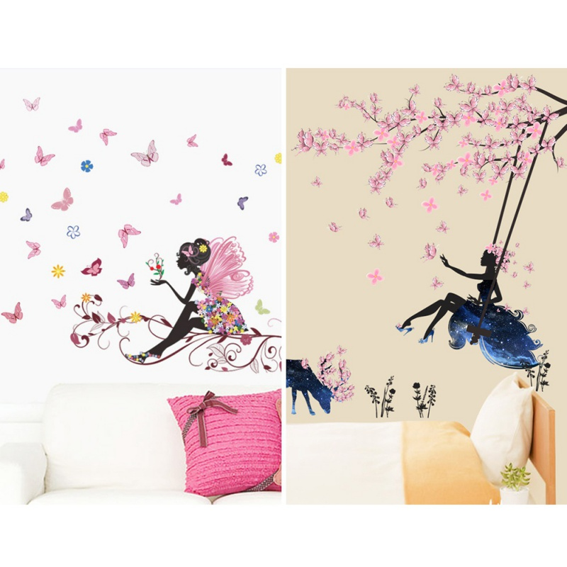 Decorative Fairy Wallpaper Sticker Flower Fairy And Elk Sheet Wall Sticker Pink