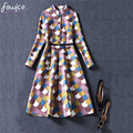 2016 High Quality Fashion Slim Women Dress Casual Stand Collar Empire Sashes Knee-Length Fit and Flare Female Vestido