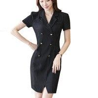 Bayan ofisi dress çizgili iş elbisesi seksi side bölünmüş fermuar çift düğme tasarım çentikli lady casual bodycon dress sya171
