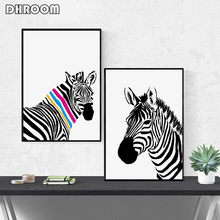 Nordic Modern Black and White Animal Zebra Giraffe Canvas Poster Prints Minimalist Wall Art Painting Picture for Living Room