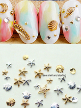 0HTRT 3D Metal Sea Shell Starfish 100pcs/pack 3d Gold Silver 3MM&5M Alloy Design Nail Rhinestone Studs UV Gel ,#2444101