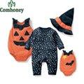 Calabaza de Halloween Traje Del Bebé Que Arropan el sistema 3 unids Modelo de Estrella de Niño Infantil de Manga Larga Romper + Chaleco + Sombrero de Mago Mameluco Del invierno