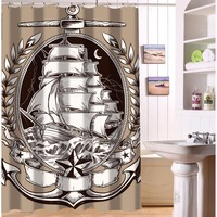Original Waterproof Polyester Bathroom Curtain Customized Nautical Vessel Anchor Vintage Label Shower Curtain 48 72 9