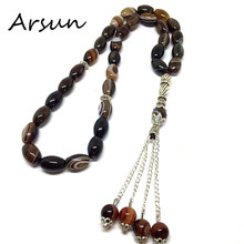 8MM*12MM Strip Onyx Agate  Muslim 33 Prayer Beads Islamic Allah Prayer Rosary Tesbih Islam Misbaha For Men