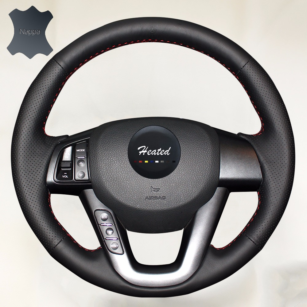 Nappa Leather Car Steering Wheel Cover for Kia K5 2011 2012 2013 Kia Optima car styling braid on the steering wheel-in Steering Covers from Automobiles & Motorcycles    1