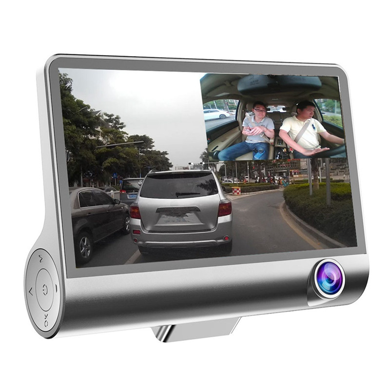 4 Inch 1080P 170 Degree G-sensor Picture in Picture Dual Lens Car DVR Dash Cam G-sensor Recorder + Rear View Camera