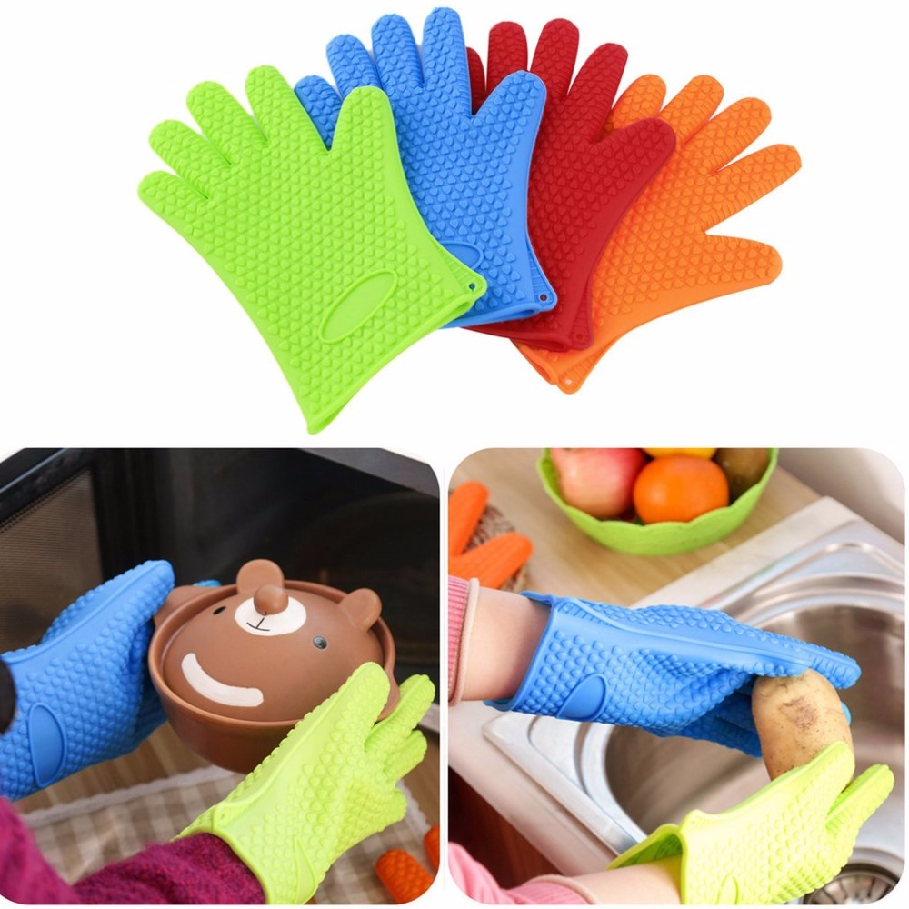1 Pcs Kitchen Microwave Mitt Insulated Oven Heat Resistant Silicone Glove Oven Pot Holder Baking BBQ Cooking Non-slip Tool pearland oilers personalized oven mitt