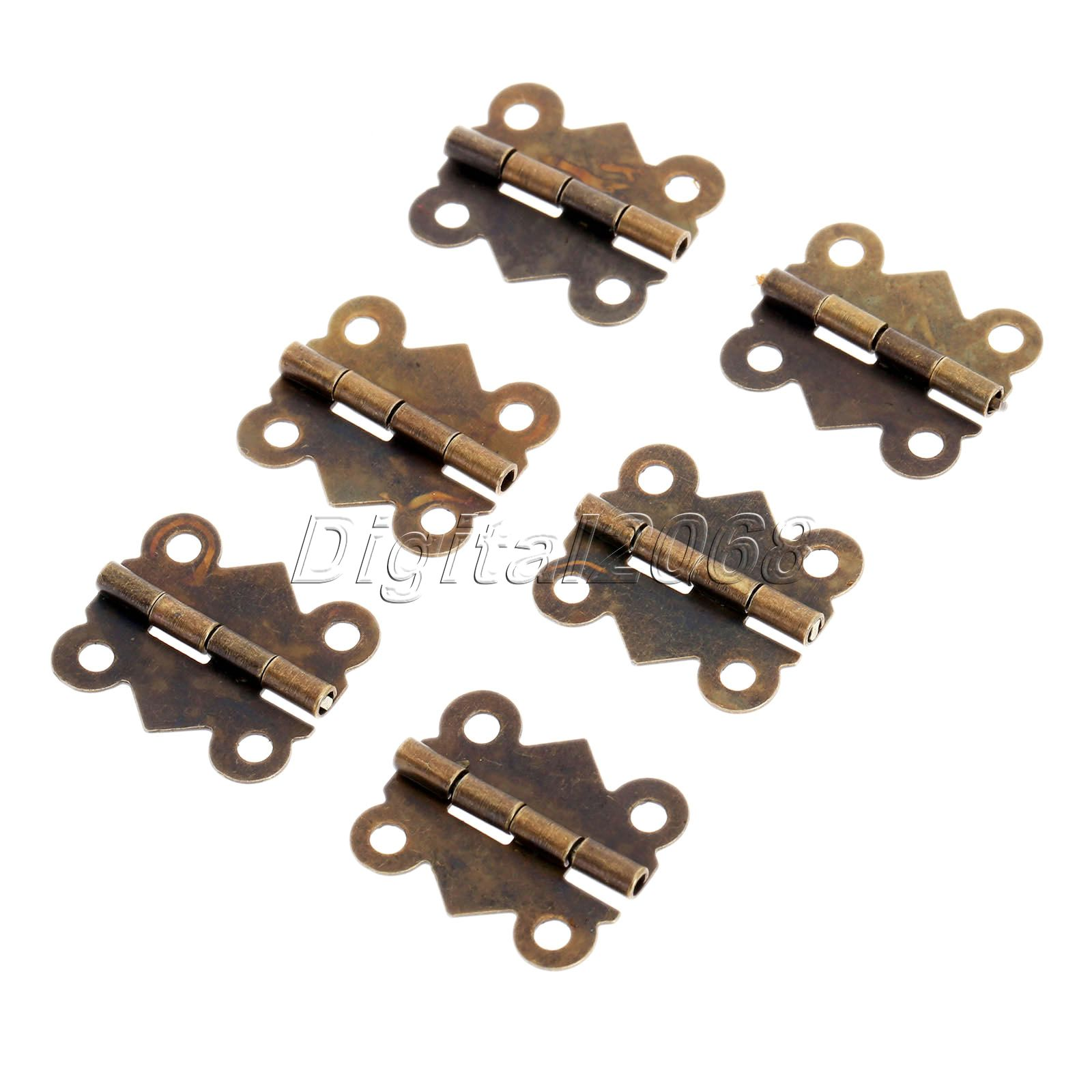 Hot New 12pcs 4 Holes Bronze Butterfly Hinges Jewelry Gift Wine Box Wood Dollhouse Door Hinge Cabinet Drawer W/srew 20x17mm