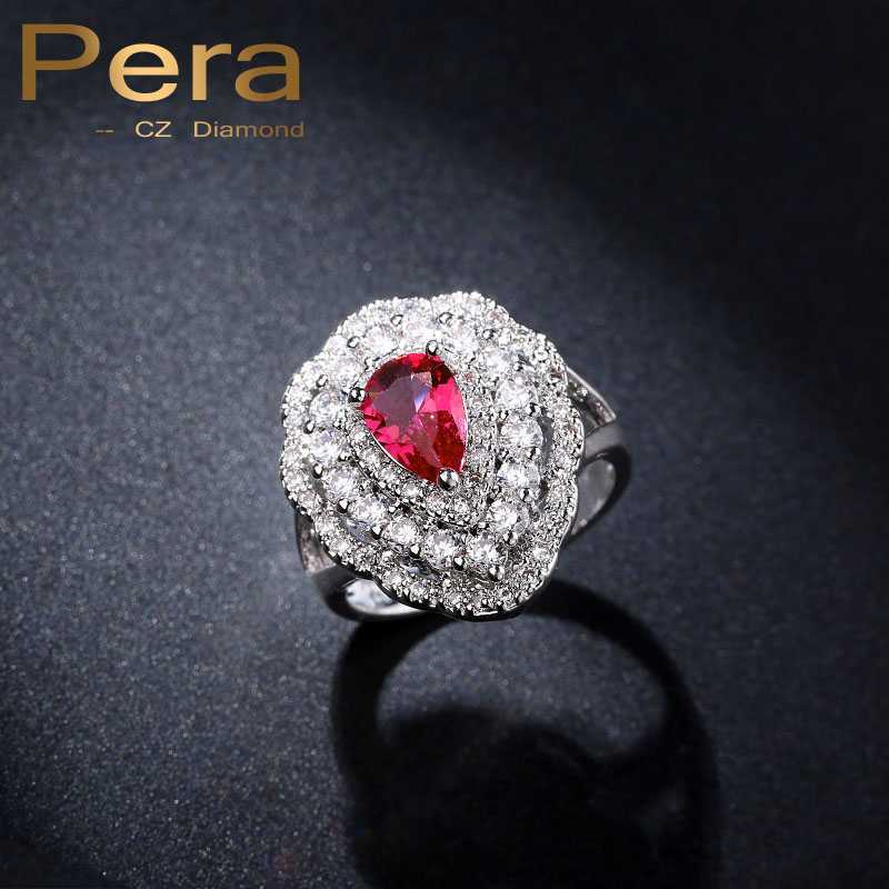 High Quality CZ Women Finger Rings Elegant Big Pear Cut Female Engagement Party Jewelry Accessories With Red Cubic Zirconia R042