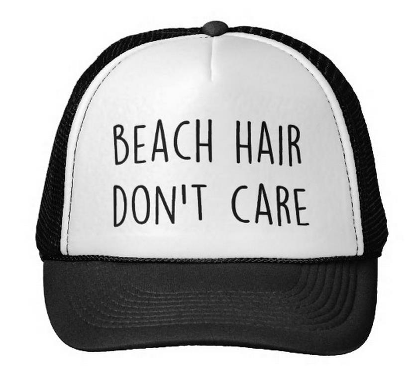 Beach Hair Don't Care Letter Print Baseball Cap Trucker Hat For Women Men Unisex Mesh Adjustable Size Black White Drop Ship M-82 2017 new pizza embroidery baseball cap trucker hat for women men unisex adjustable size dad cap hats