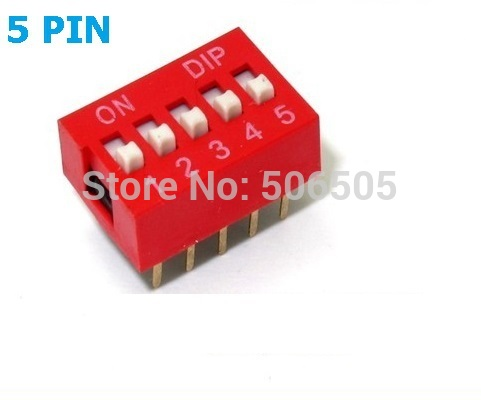 10pcs 5 Position 5Pin DIP Switch 2.54mm Pitch 2 Row 5P Slide DIP Switch Free shipping