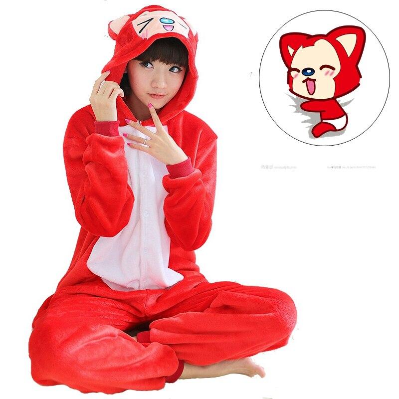 Cute Fox Cartoon Adult Unisex Autumn Winter Animal Cosplay Pajamas Sets Sleepwear Onesies Pajama For Women Men Couples Girls
