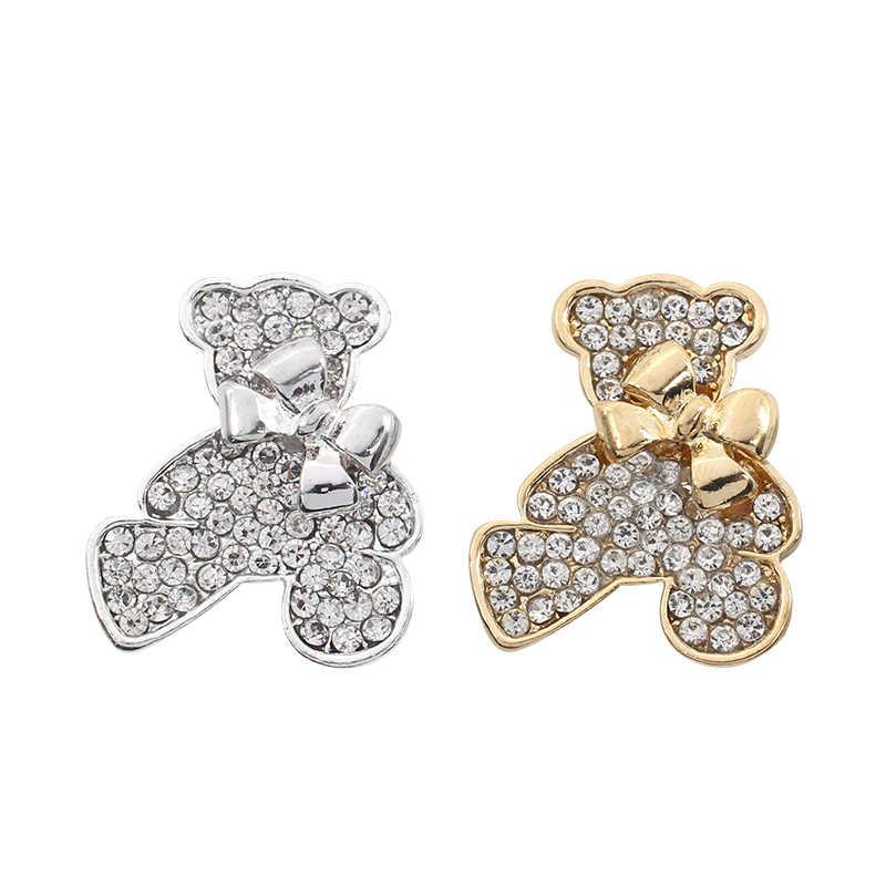 Trendi Crystal Bear Bros Emas Perak Hewan Bros untuk Wanita Sweater Pin Bros dengan Berlian Imitasi Drop Pengiriman Hadiah Natal